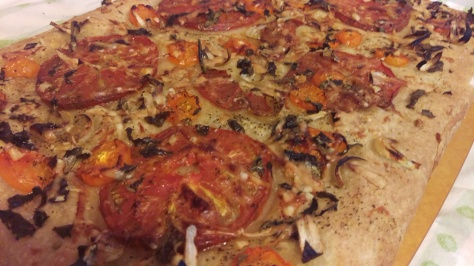 Roasted heirloom tomato, onion, garlic and herb focaccia